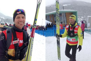 "Peter Johansson and Chris Grover both got to hold Kikkan's ""gold skis"" after the Sprint Relay in Val di Fiemme. These are HM skis produced in 2010."