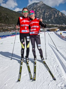 Sophie and Ida testing new skis two days before the sprint in Val di Fiemme