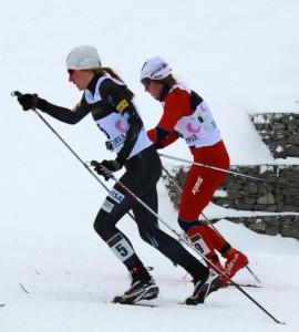 Sophie Caldwell racing the U23 World Championship Sprint.