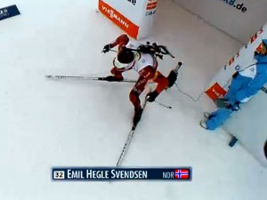 Emil Hegle Svendson on his way to gold at Biathlon World Championships, racing on REDline skis.
