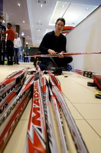Randy Gibbs, packing Noah's skis for Sochi