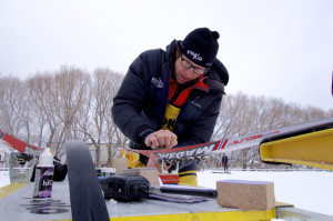 Scott Johnston waxing some REDline classic skis on the sprint day at US Nationals