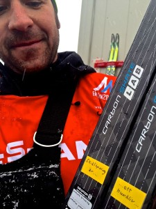 Possibly not the best illustration since you can't see the bases. But these are the medal skis, right after the medal race. Jason Cork, coach and service tech.