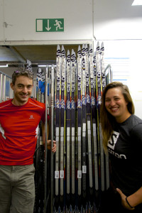 Selecting skis in Altenmarkt with Jenny Beckman from Salomon