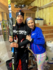 Michael Meissner with his daughter Geneva, and his Ski Trab Birkie boards.