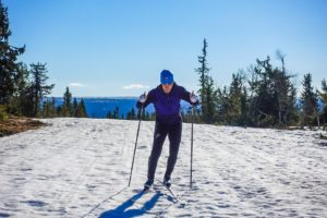 Skiing new skis on icy crust at the top of Midtfjellet - the high point of the Norwegian Birkebeiner course.